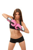 Beautiful boxing woman in pink gloves Royalty Free Stock Image