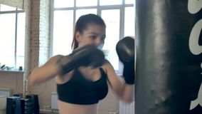 Beautiful boxing woman training punching bag in fitness studio fierce strength fit body kickboxer series. 4k stock footage