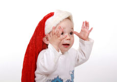 Beautiful boy in christmas hat Royalty Free Stock Image
