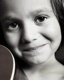 Beautiful Boy closeup. Portrait of a little boy with a guitar Stock Photos