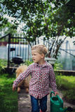 Beautiful boy gardening. Garden. Vegetables Stock Images