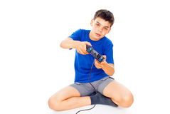 Beautiful boy with a joystick Royalty Free Stock Photography