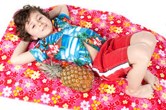 Beautiful boy lying relaxed Royalty Free Stock Image