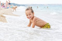 Beautiful boy and the sea Royalty Free Stock Photography