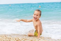 Beautiful boy and the sea Royalty Free Stock Image