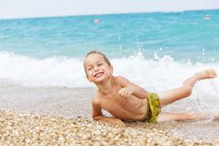 Beautiful boy and the sea Royalty Free Stock Photo