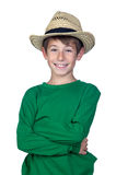 Beautiful boy with straw hat. Isolated on a over white background Royalty Free Stock Photos