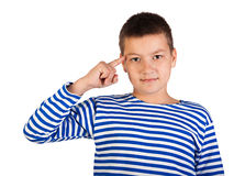 The beautiful boy the teenager isolated Stock Photo