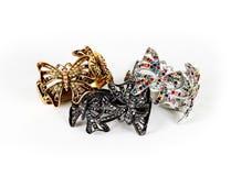 Beautiful bracelets isolated on white background Stock Photos