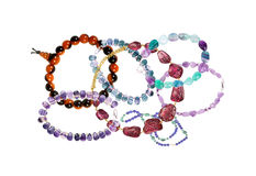 Beautiful bracelets with precious stones isolated Stock Photos