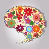 Beautiful brain with colored flowers Royalty Free Stock Images