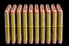 Beautiful brass bullets with copper tops Stock Photos