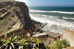 Brave sea and cliffs of the coast of Azenhas do Mar in Portugal. Beautiful brave sea and cliffs of the coast of Azenhas do Mar in Portugal in Spring nature royalty free stock photography