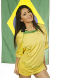 Beautiful Brazil soccer fan - flag Royalty Free Stock Photography
