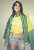 Beautiful Brazil soccer fan - flag Royalty Free Stock Photography