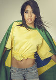 Beautiful Brazil soccer fan - flag Stock Photo