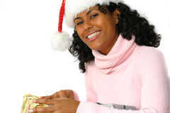 Beautiful brazilian girl. With christmas hat Royalty Free Stock Photo