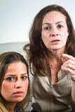 Beautiful brazilian mother. And daughter indoors portrait stock photos