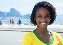 Beautiful brazilian sports fan at Rio de Janeiro Stock Photos