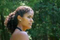Beautiful brazilian woman. Looking sideways Royalty Free Stock Photos