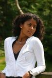Beautiful brazilian woman. Beauty on the bridge Royalty Free Stock Photo