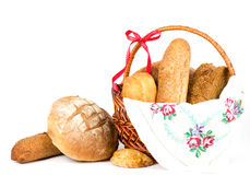 Beautiful bread set in basket Stock Photos