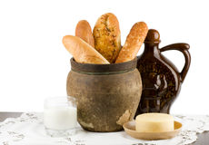 Beautiful bread set with milk and cheese Royalty Free Stock Images