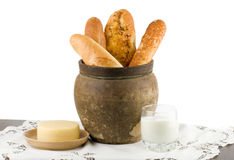 Beautiful bread set with milk and cheese Stock Photography