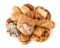 Beautiful bread. On a white background and sweets royalty free stock images
