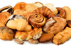 Beautiful breads closeup. Beautiful breads and sweets closeup royalty free stock photo