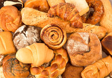 Beautiful breads. And sweets closeup stock photography
