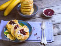 Beautiful breakfast frieds banana fritter decorated additives Stock Photos