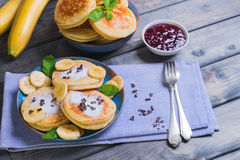 Beautiful breakfast frieds banana fritter decorated additives Royalty Free Stock Photography