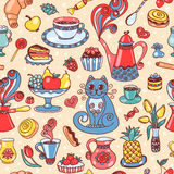 Beautiful breakfast seamless pattern Stock Images