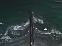 Beautiful breakwater on a cloudy day stock image