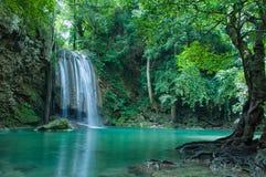 Beautiful and Breathtaking green waterfall, Erawan's waterfall Located at Kanchanaburi province, Thailand Royalty Free Stock Photos
