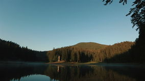 Beautiful breathtaking panoramic view of mountain lake in Carpathians, Landscape Sinevir. stock video footage