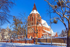 Beautiful brick church in Pruszcz Gdanski Stock Image