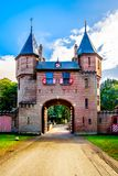Beautiful Brick Entrance Gates at Castle De Haar, a 14th century Castle rebuild in the late 19th century stock photography
