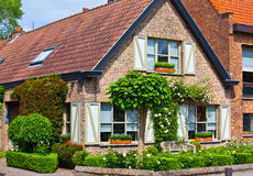 Beautiful brick house. Bruges. Belgium. Stock Image
