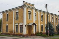 Beautiful brick house on the street of Chernihiv. Ukraine.  stock photos