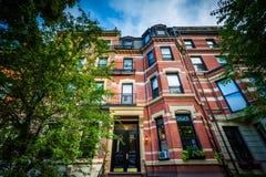 Beautiful brick rowhouses in Back Bay, Boston, Massachusetts. Royalty Free Stock Images