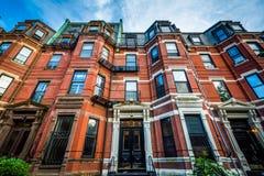 Beautiful brick rowhouses in Back Bay, Boston, Massachusetts. Royalty Free Stock Photography