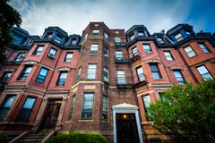 Beautiful brick rowhouses in Back Bay, Boston, Massachusetts. Royalty Free Stock Photos