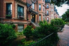 Beautiful brick rowhouses in Back Bay, Boston, Massachusetts. Royalty Free Stock Image