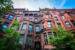 Beautiful brick rowhouses in Back Bay, Boston, Massachusetts. Royalty Free Stock Photos