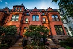 Beautiful brick rowhouses in Washington, DC. Royalty Free Stock Image