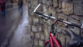 Beautiful Bricks Wall With Bicycle stock images