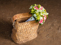 Beautiful bridal bouquet in basket Royalty Free Stock Photos
