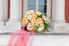 Beautiful bridal bouquet with different flowers royalty free stock photo
